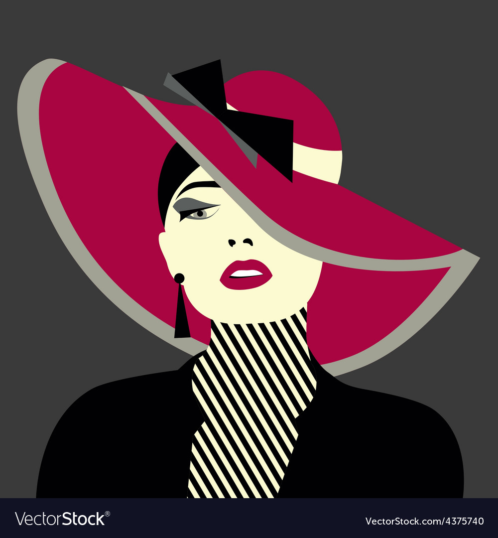 Stylized sexy woman with hut vector | Price: 1 Credit (USD $1)