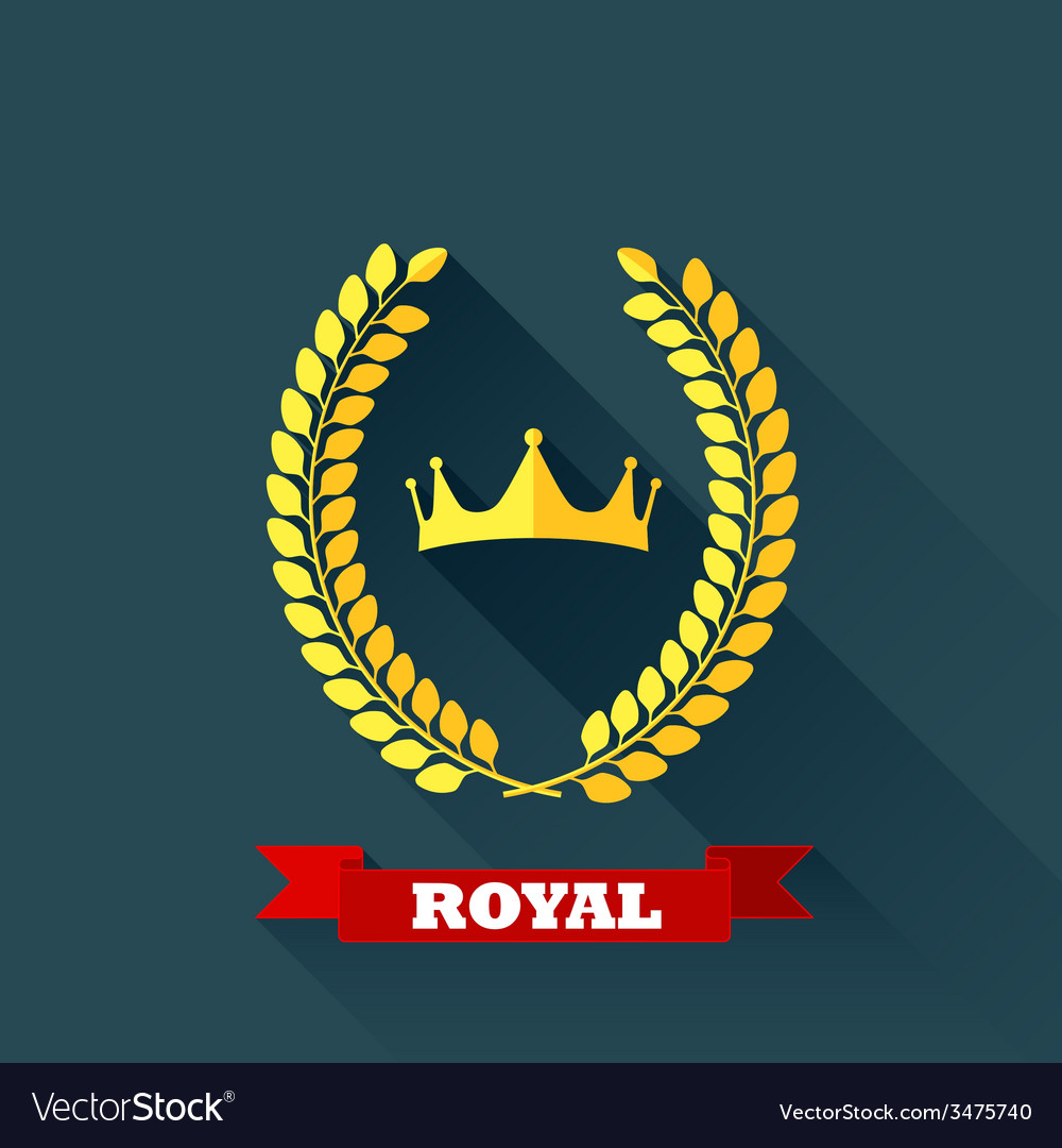With laurel wreath and crown in flat design with vector | Price: 1 Credit (USD $1)
