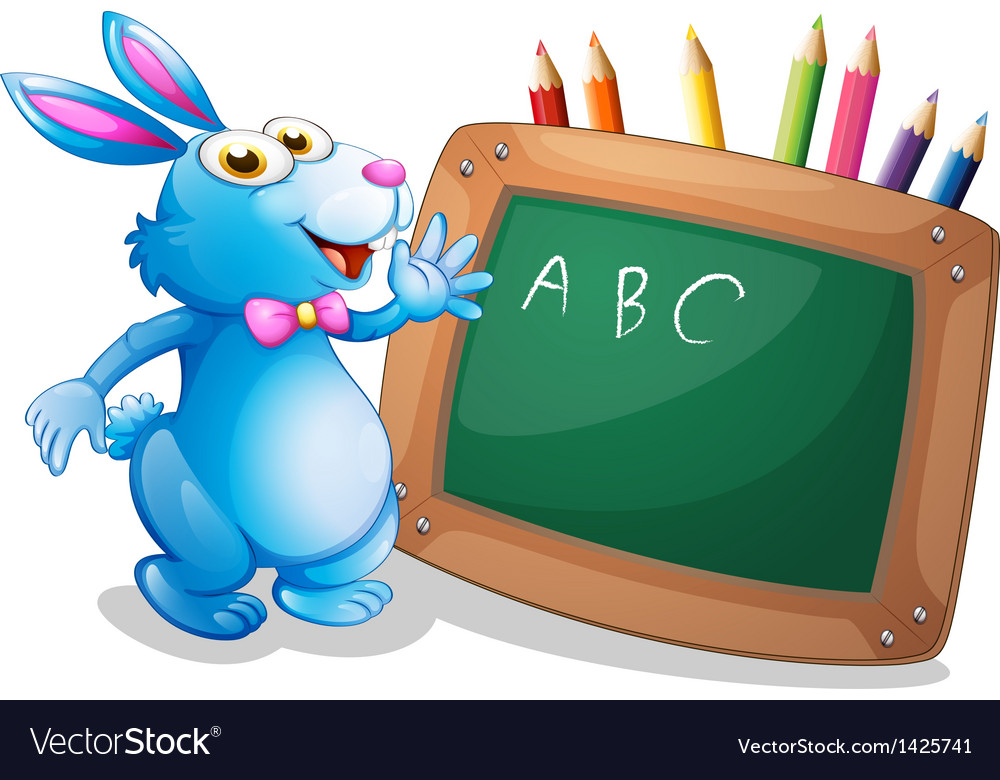 A bunny in front of a chalkboard with pencils at vector | Price: 1 Credit (USD $1)