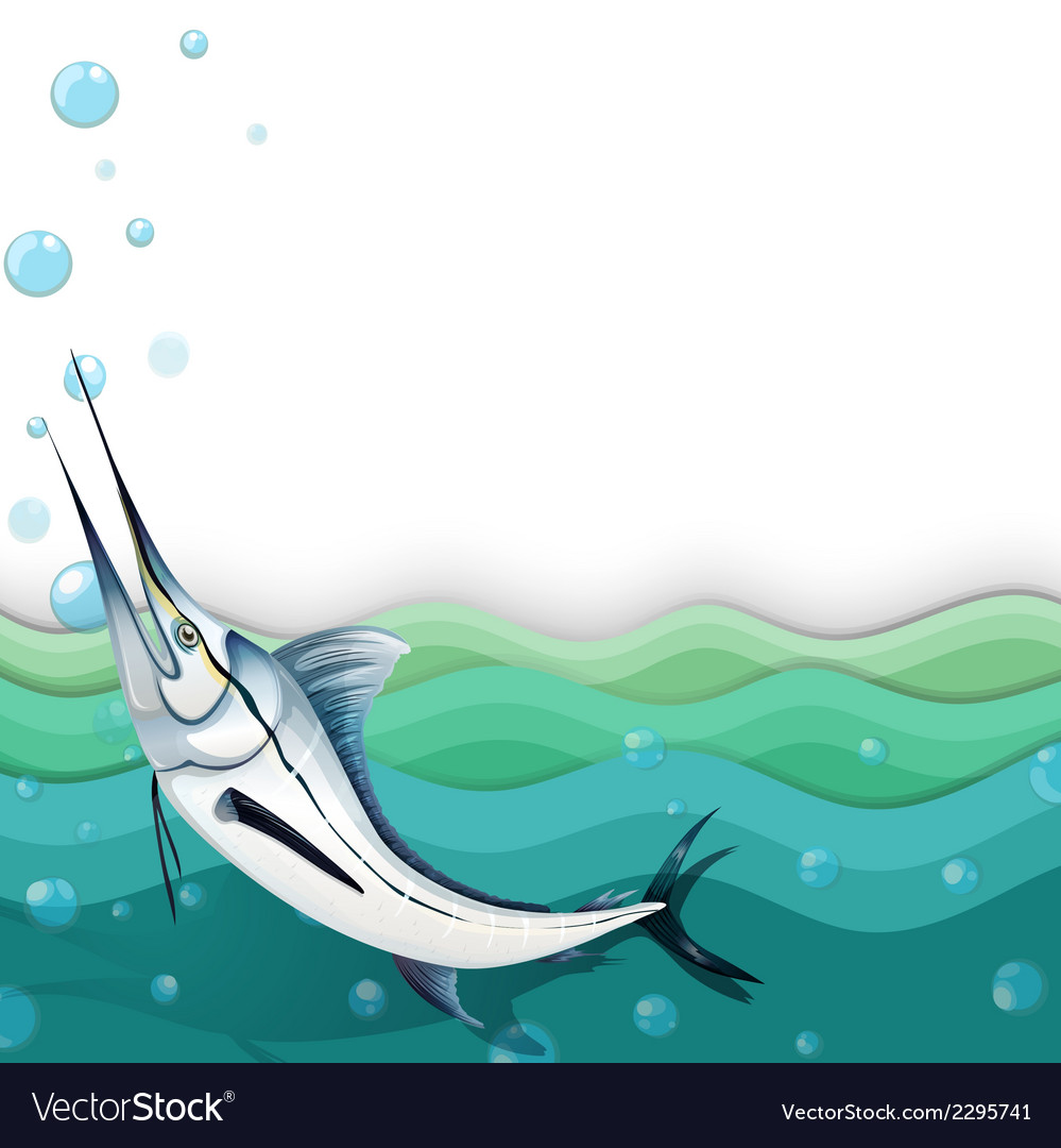 An ocean with a big fish vector | Price: 1 Credit (USD $1)