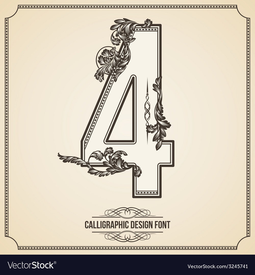 Calligraphic font number 4 vector | Price: 1 Credit (USD $1)