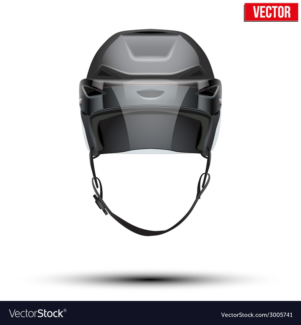 Classic black ice hockey helmet with glass visor vector | Price: 1 Credit (USD $1)