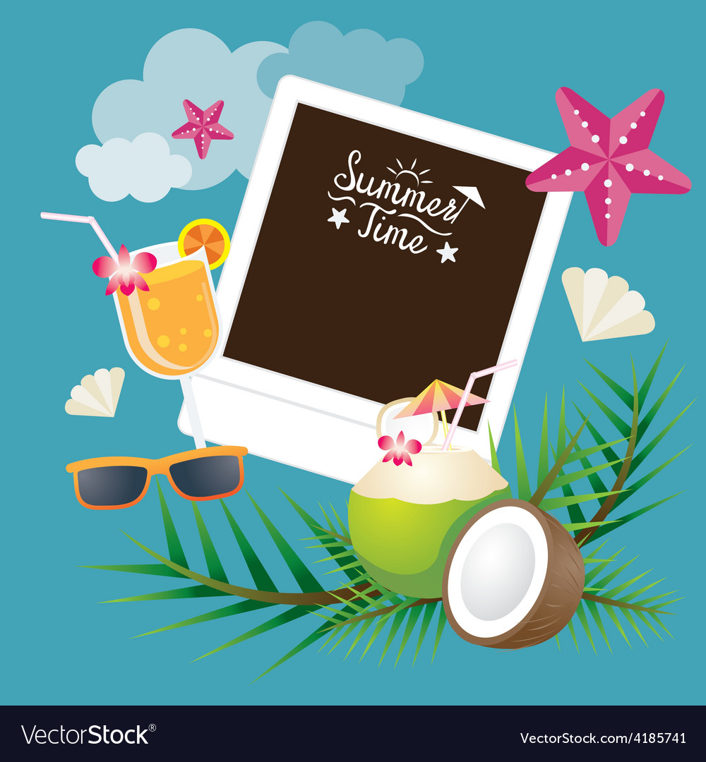 Coconut fruit and summer objects with frame vector | Price: 3 Credit (USD $3)