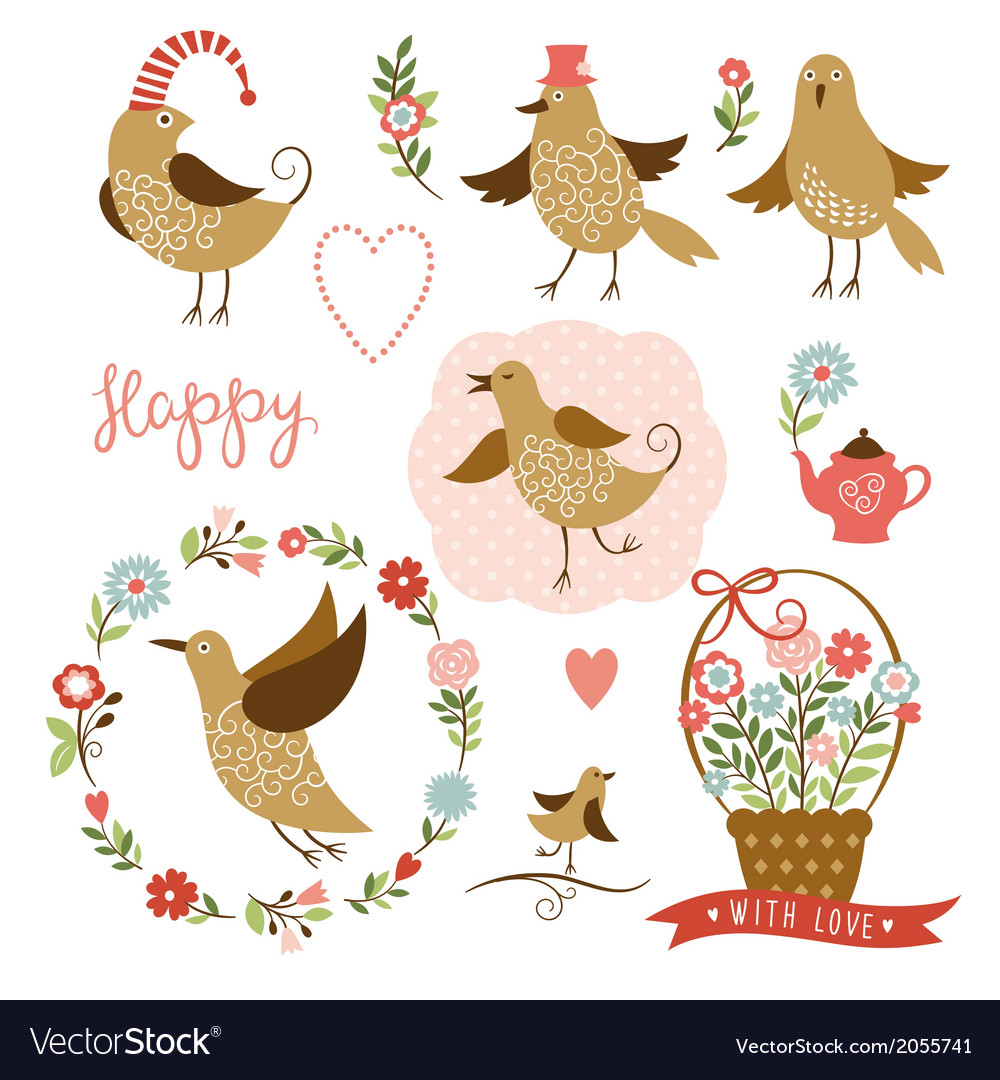 Cute birds holiday graphic elements vector | Price: 1 Credit (USD $1)
