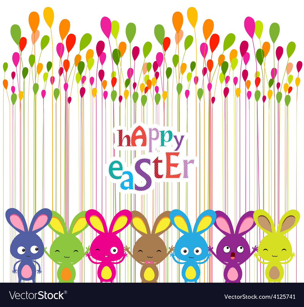 Easter bunnies colorful background vector | Price: 1 Credit (USD $1)
