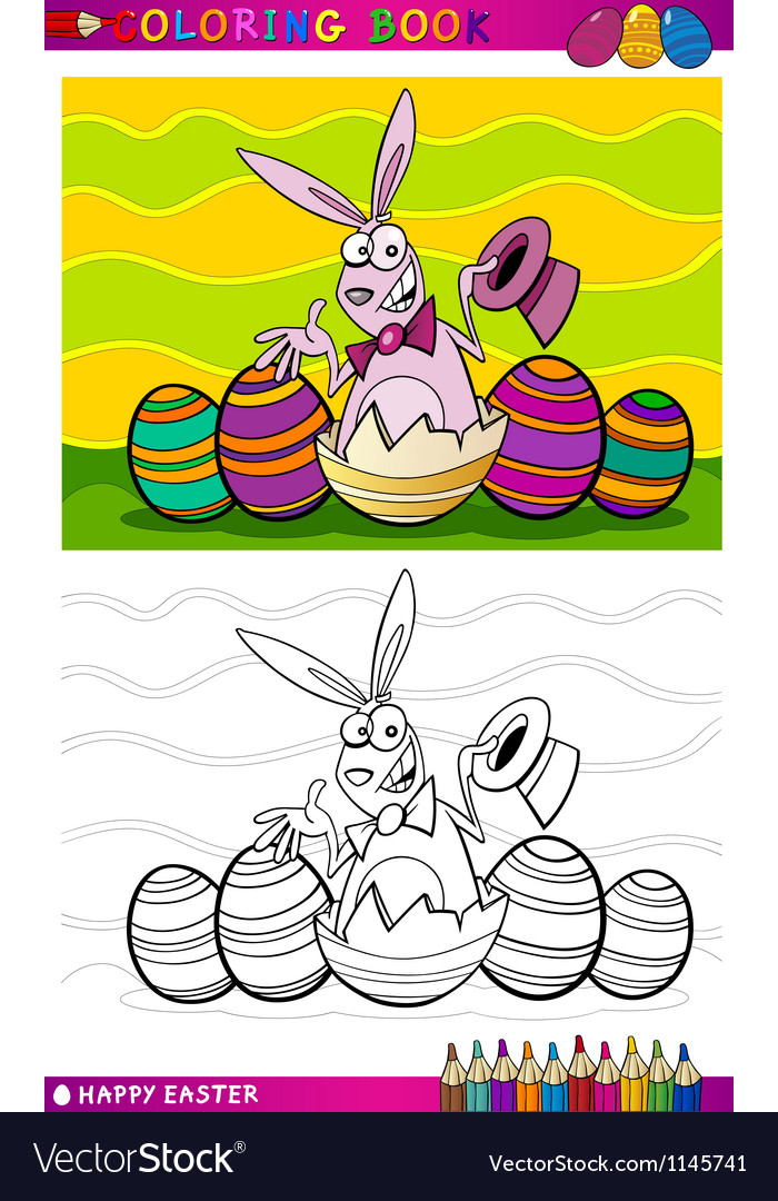 Easter bunny cartoon for coloring vector   Price: 1 Credit (USD $1)