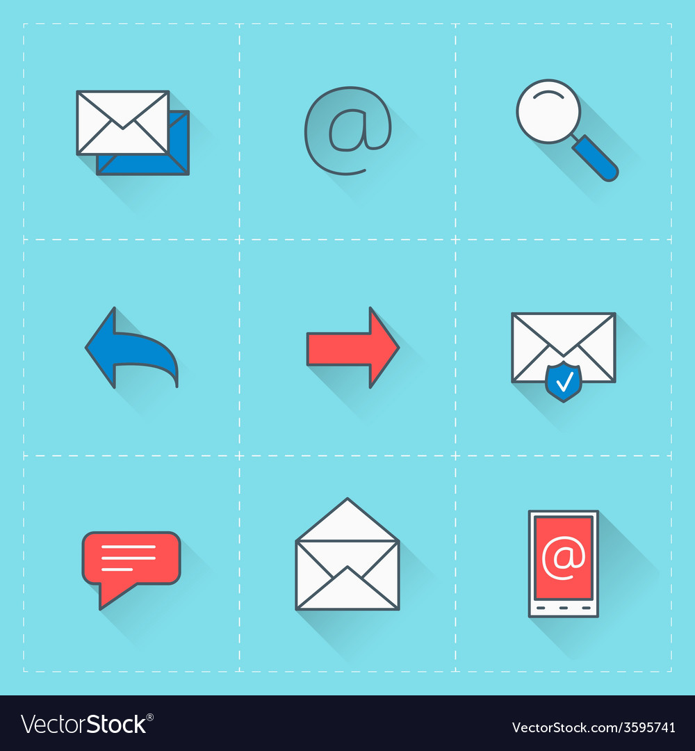 Email icons icon set in flat design style for web vector | Price: 1 Credit (USD $1)