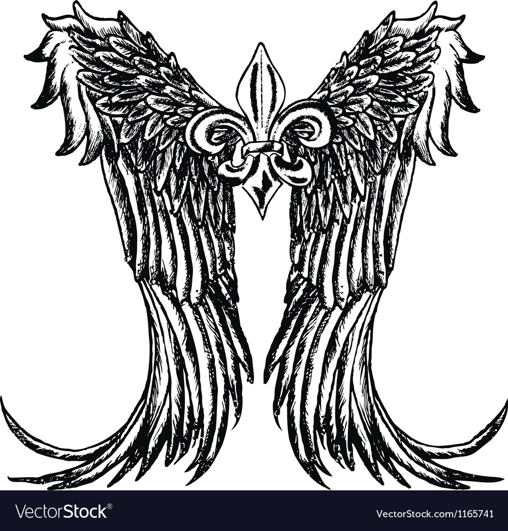 Fleur de lis wing emblem vector | Price: 1 Credit (USD $1)