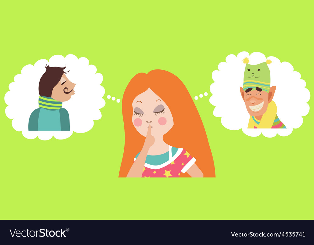 Girl doubting between two loves vector | Price: 1 Credit (USD $1)