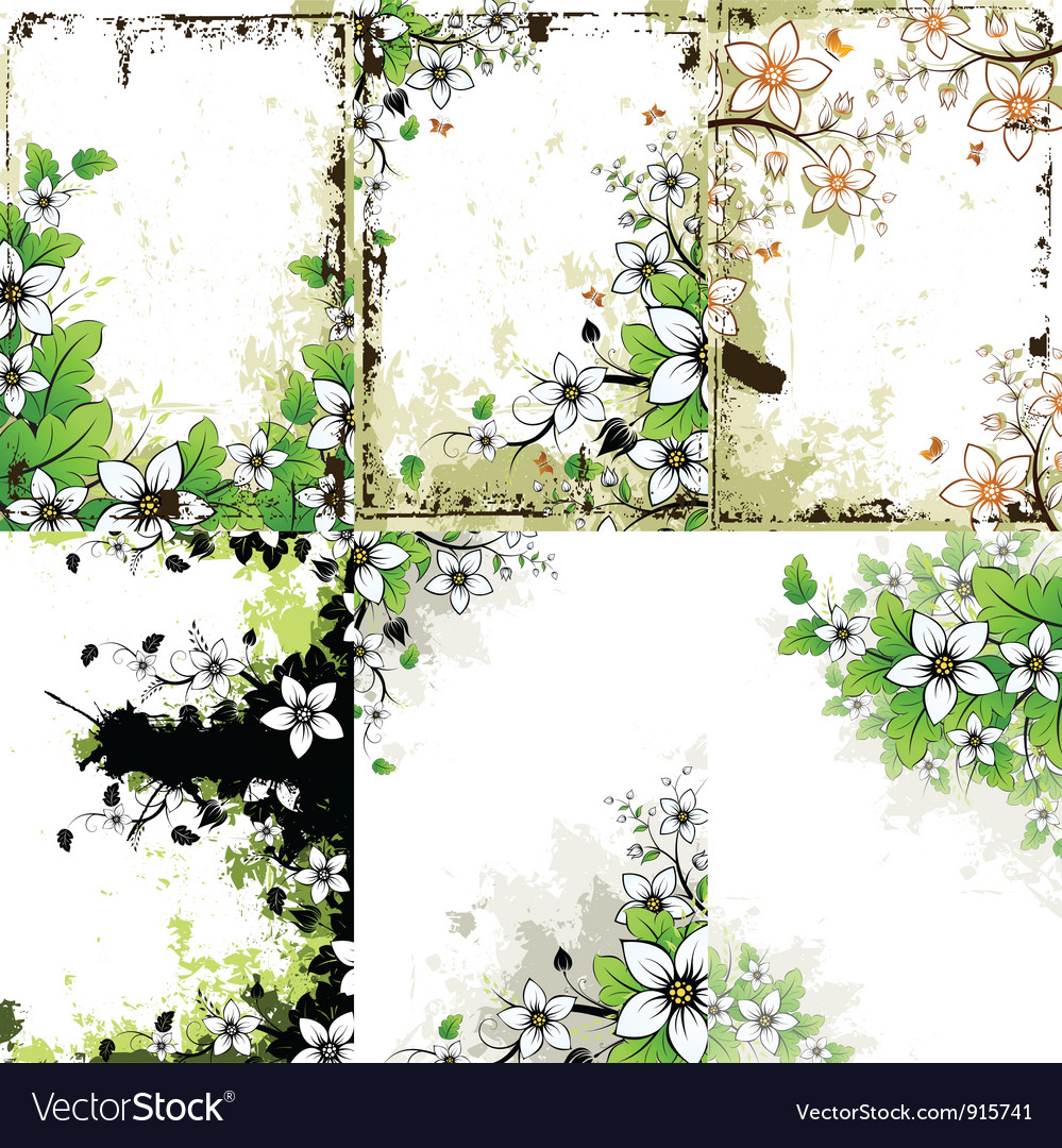 Grunge floral backgrounds set vector | Price: 1 Credit (USD $1)