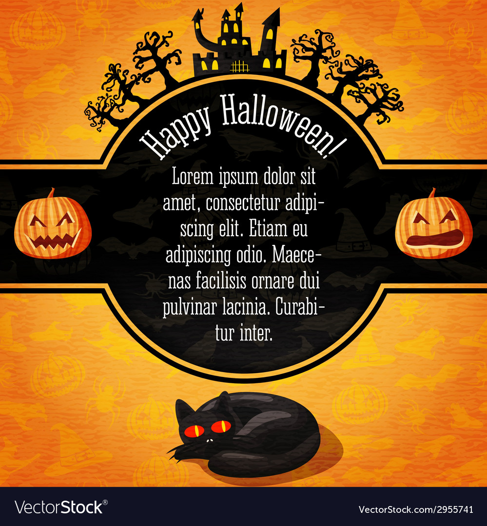 Happy halloween banner with greetings and sample vector | Price: 1 Credit (USD $1)