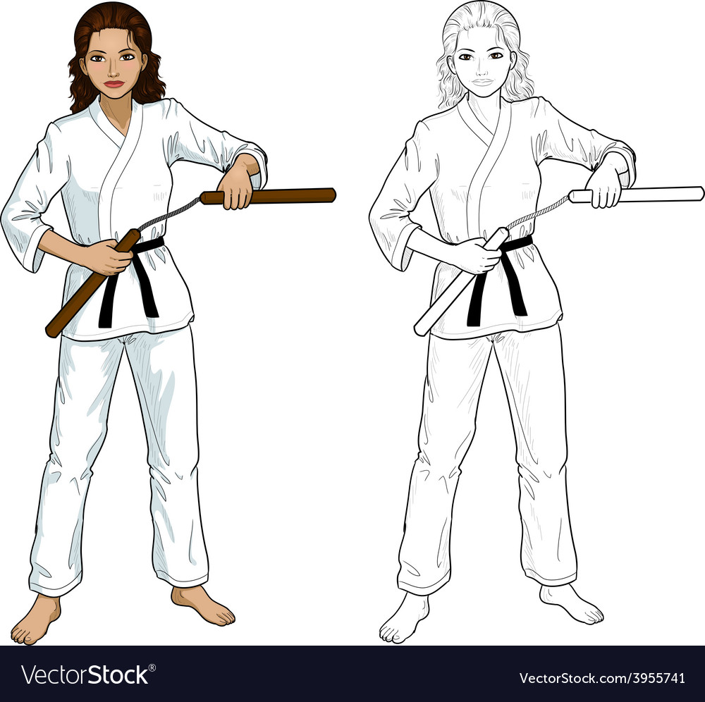 Indonesian nunchuck girl in karategi vector | Price: 1 Credit (USD $1)