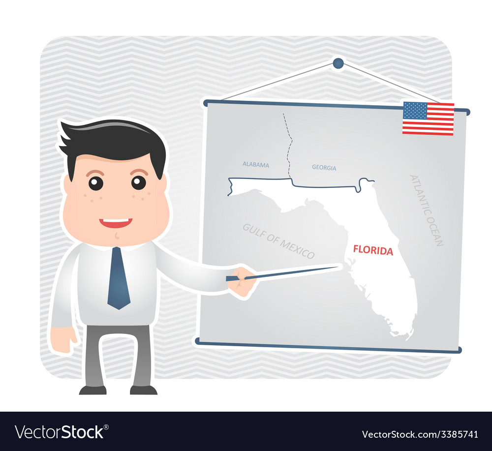 Man with a pointer points to a map of florida vector | Price: 1 Credit (USD $1)
