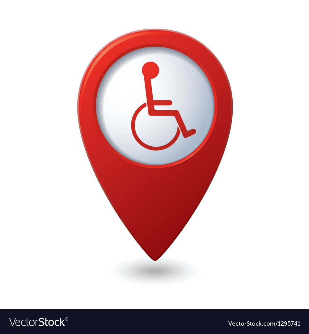 Map pointer with handicap icon vector | Price: 1 Credit (USD $1)
