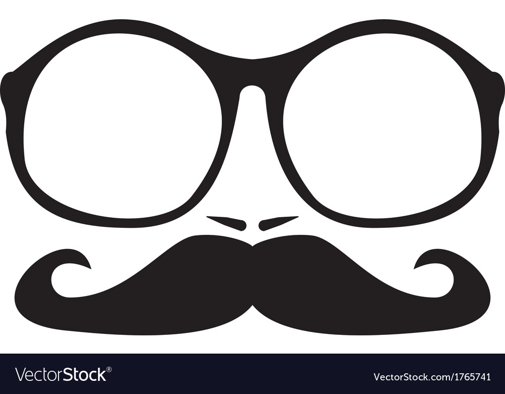Men face with mustache and huge nerd glasses vector | Price: 1 Credit (USD $1)