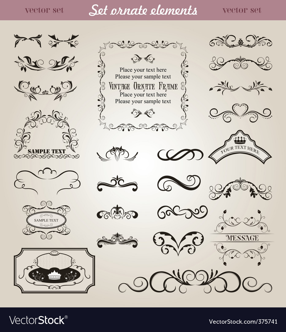 Set floral ornate design elements vector | Price: 1 Credit (USD $1)