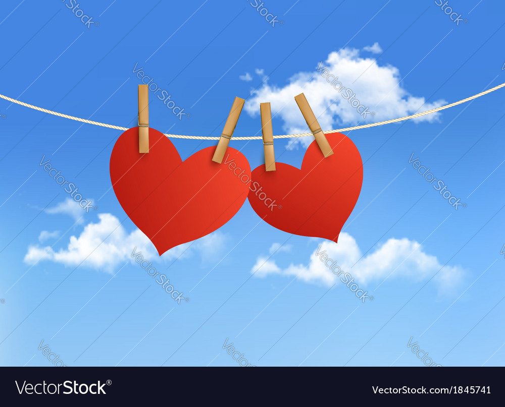 Two hearts hanging on a rope in front of a sky vector | Price: 1 Credit (USD $1)
