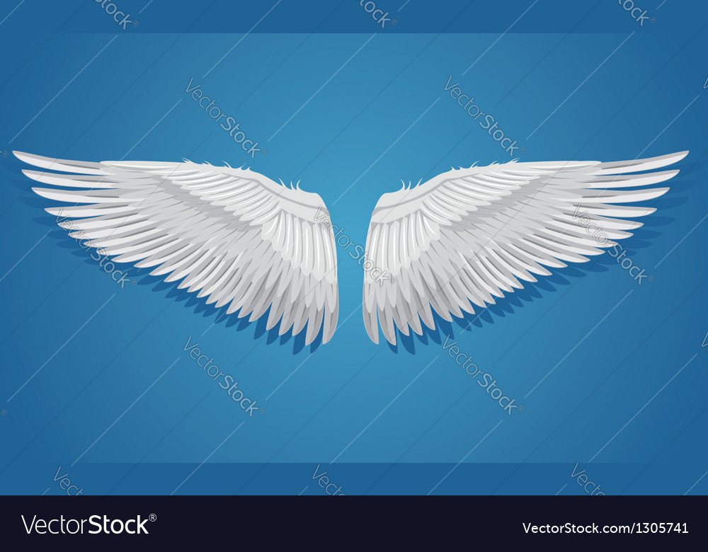 White wings on blue background vector | Price: 1 Credit (USD $1)