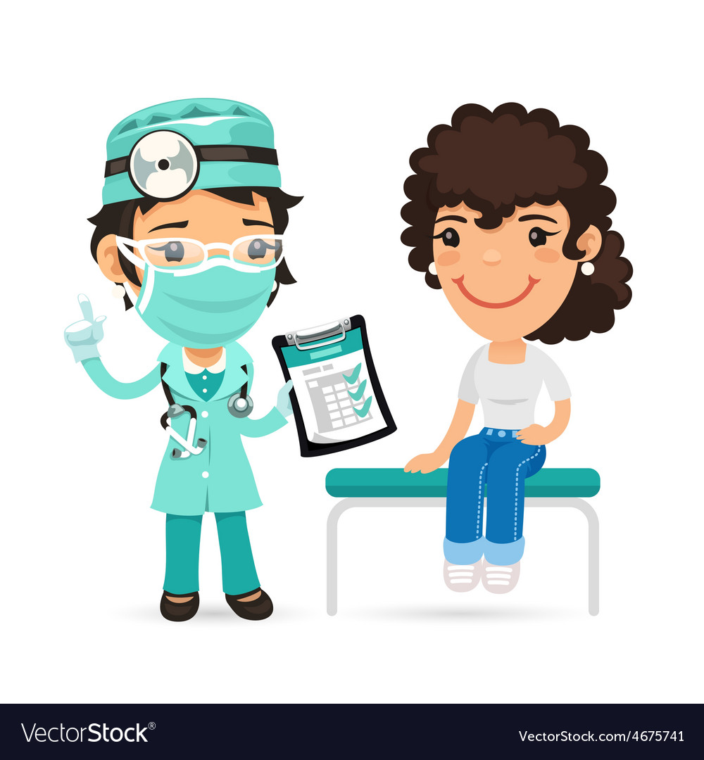 Woman is sitting on an examination table and vector   Price: 3 Credit (USD $3)