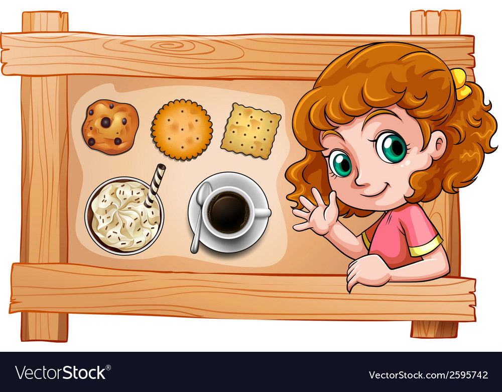 A frame with a young girl with drinks and biscuits vector | Price: 1 Credit (USD $1)