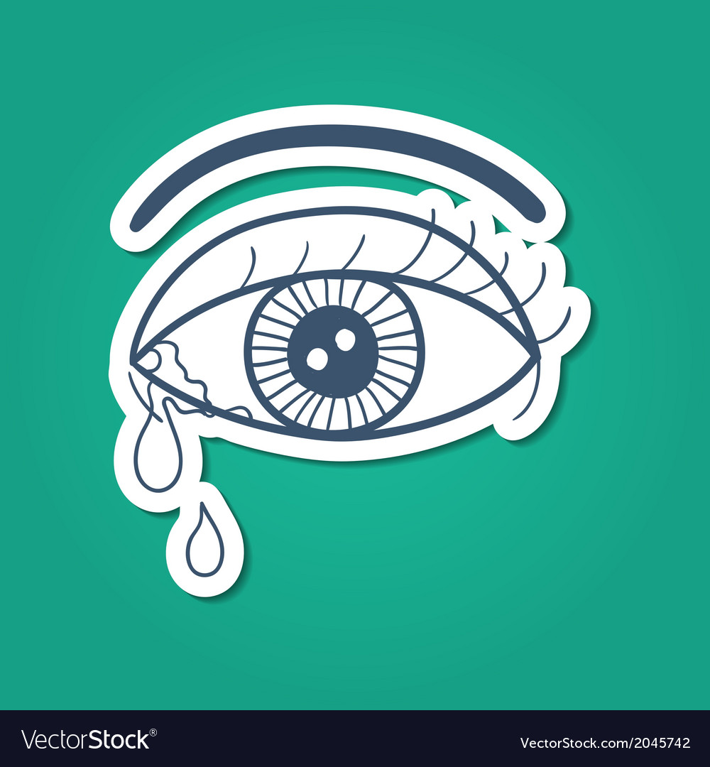 Crying eye with tears vector | Price: 1 Credit (USD $1)