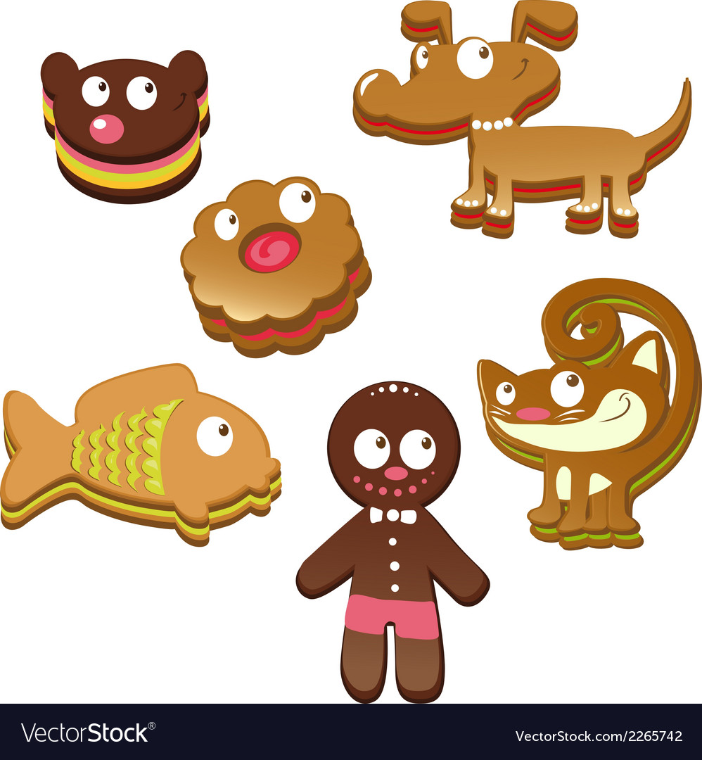 Cute christmas gingerbread cookies isolated on vector | Price: 1 Credit (USD $1)