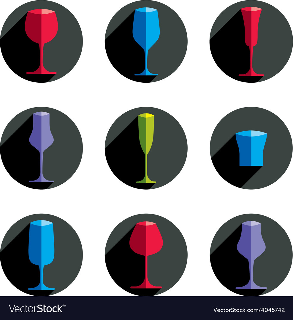 Decorative drinking glasses collection set of vector | Price: 1 Credit (USD $1)