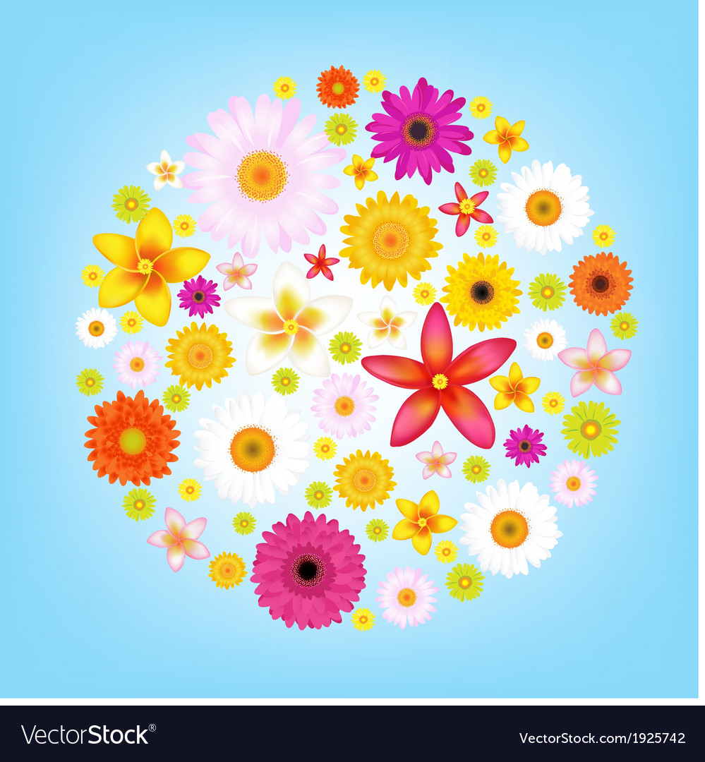 Flowers and blue sky vector | Price: 1 Credit (USD $1)