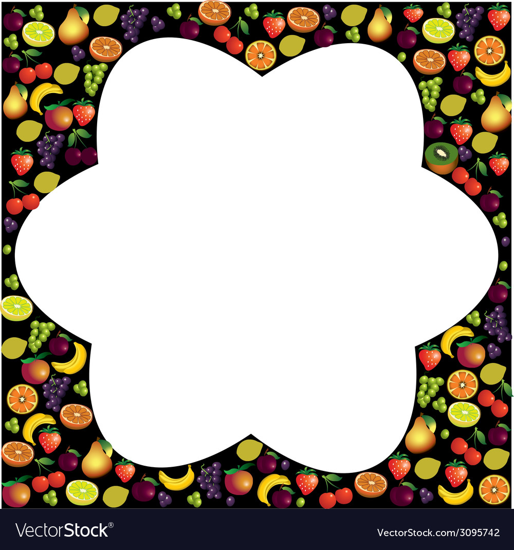 Fruits frame made with different fruits over dark vector | Price: 1 Credit (USD $1)