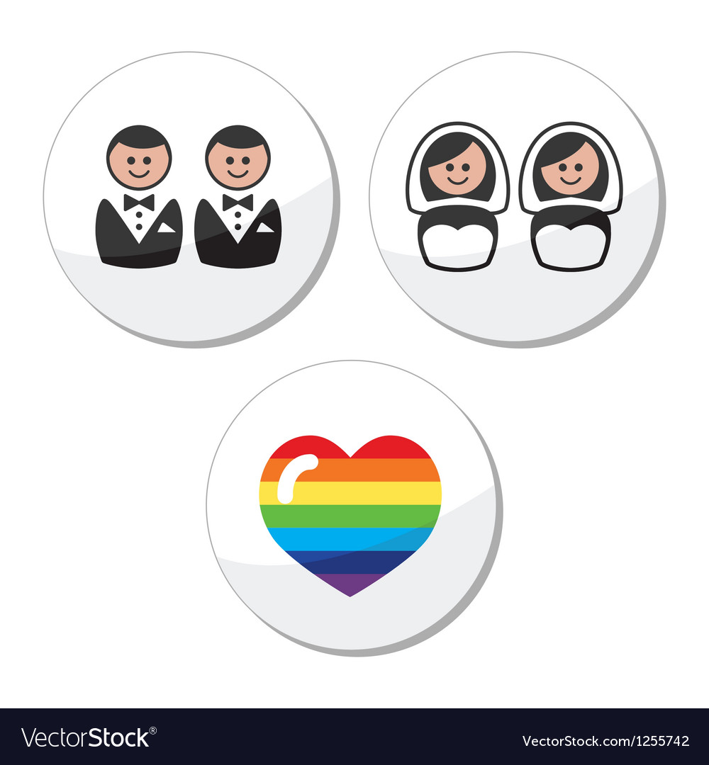 Gay lesbian wedding icons set vector | Price: 1 Credit (USD $1)