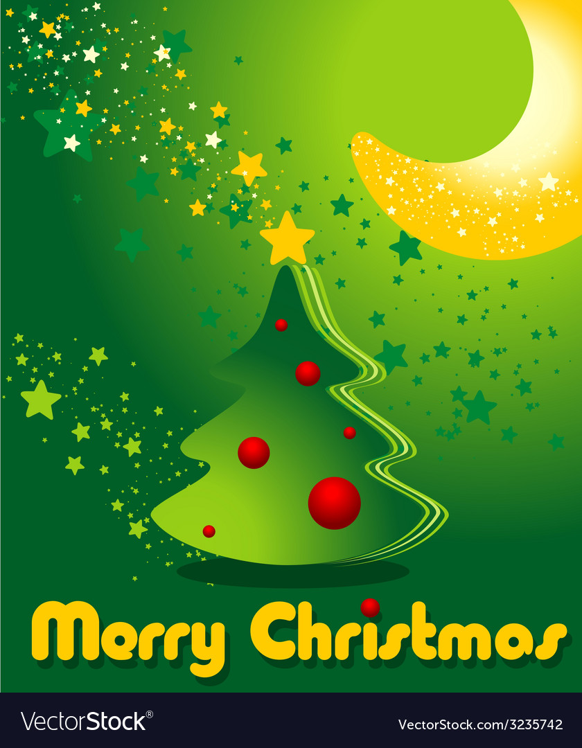 Greeting card with christmas tree stars and moon vector | Price: 1 Credit (USD $1)