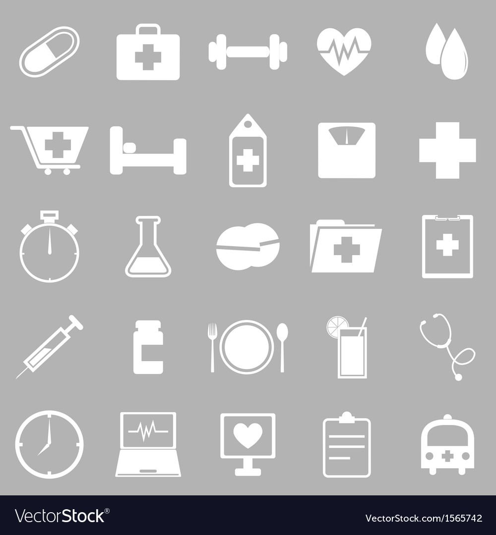 Health icons on gray background vector | Price: 1 Credit (USD $1)