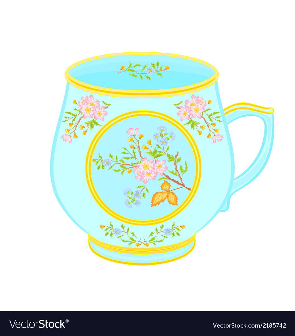 Porcelain mug of with floral pattern tea service vector | Price: 1 Credit (USD $1)