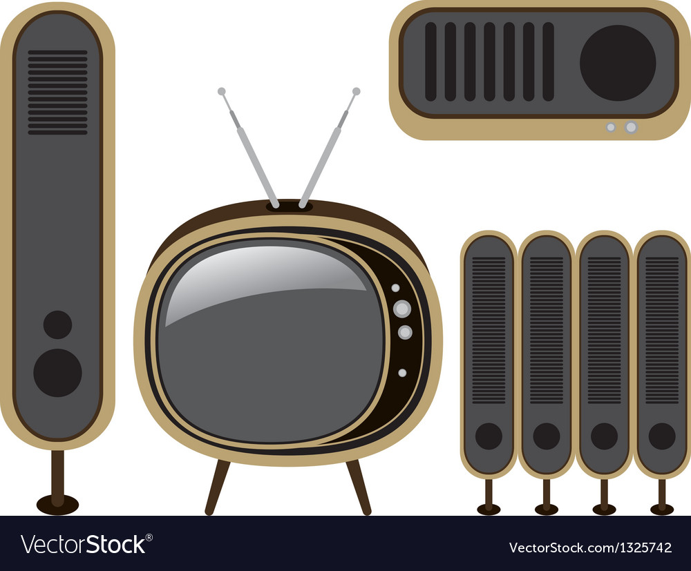 Retro tv and loudspeaker vector | Price: 1 Credit (USD $1)
