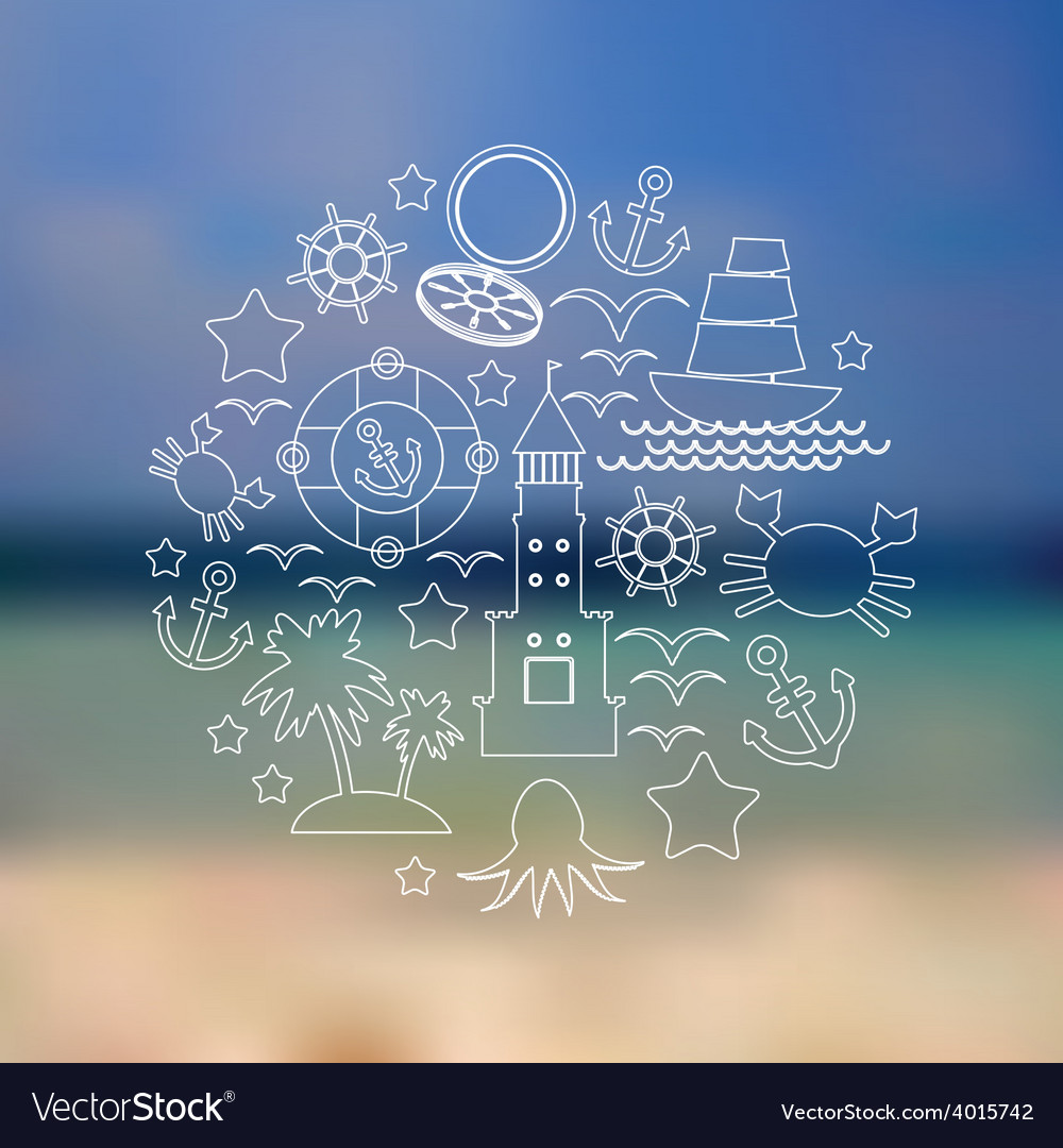 Set icons on seascape background vector | Price: 1 Credit (USD $1)
