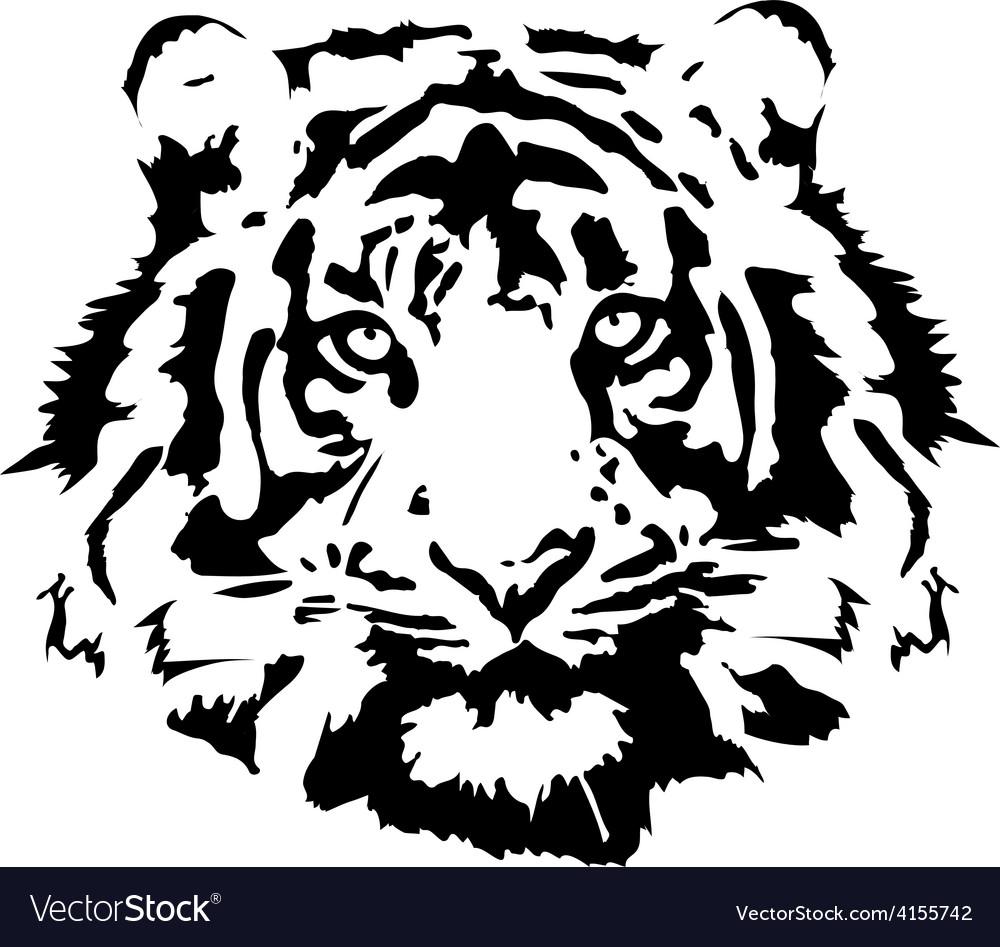 Tiger head in black interpretation 1 vector | Price: 1 Credit (USD $1)