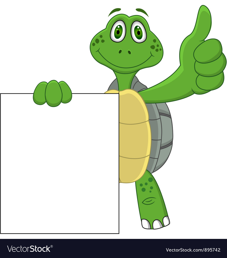 Turtle cartoon with blank sign vector | Price: 3 Credit (USD $3)