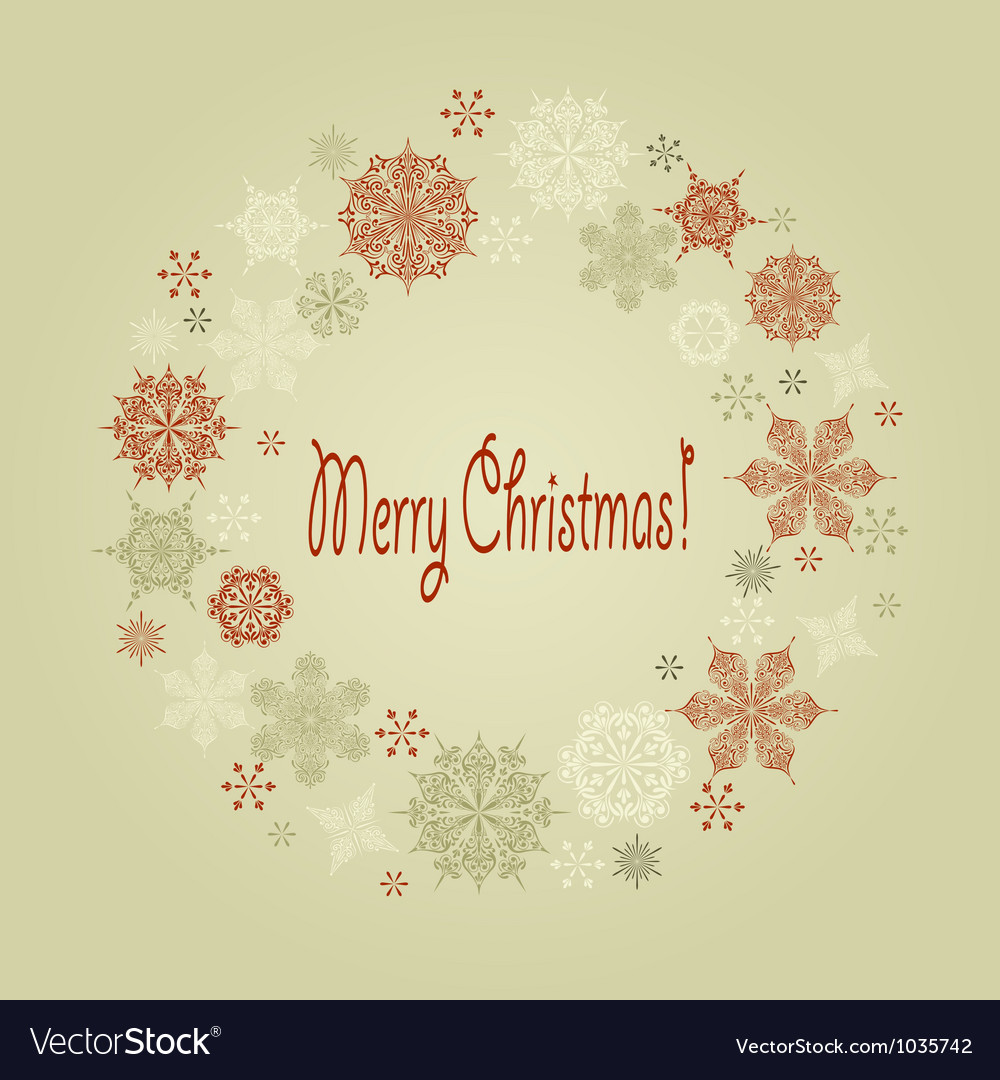 Vintage christmas wreath vector