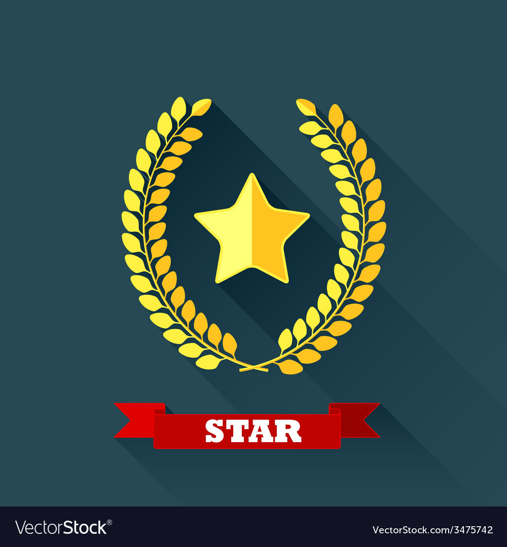 With laurel wreath and star in flat design with vector | Price: 1 Credit (USD $1)