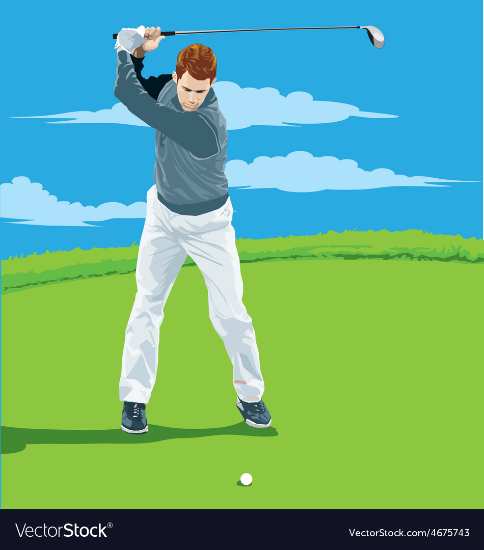 A man playing golf vector | Price: 3 Credit (USD $3)