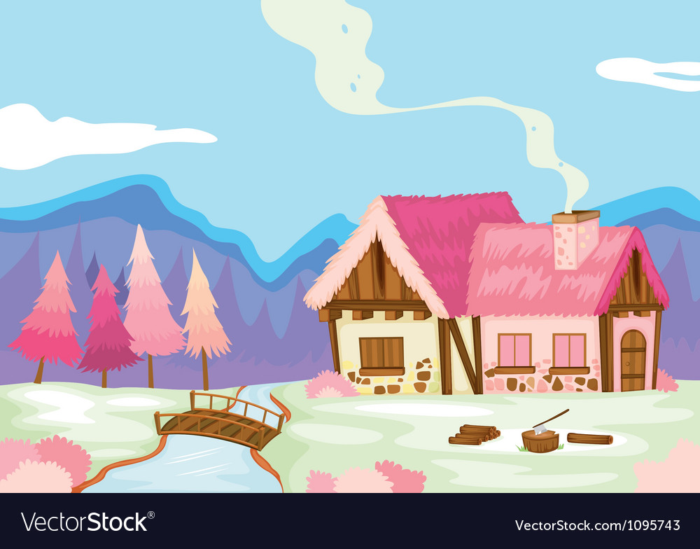 A pink house in nature vector | Price: 1 Credit (USD $1)