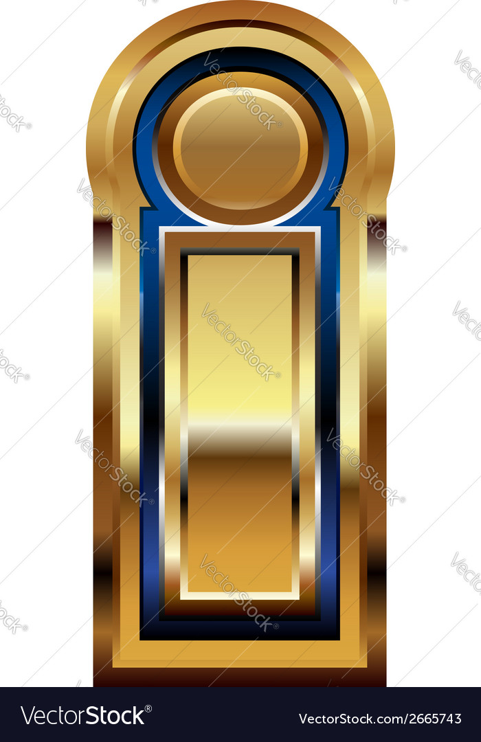 Golden font letter i vector | Price: 1 Credit (USD $1)