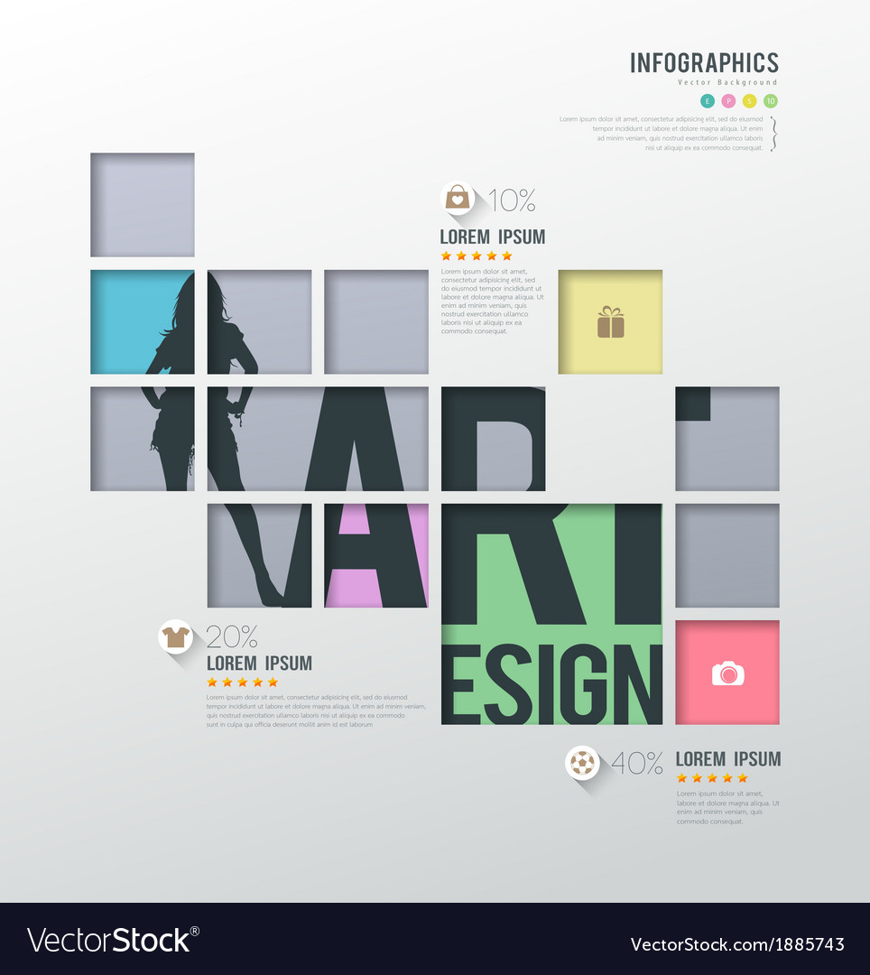 Modern infographics squares template for business vector | Price: 1 Credit (USD $1)