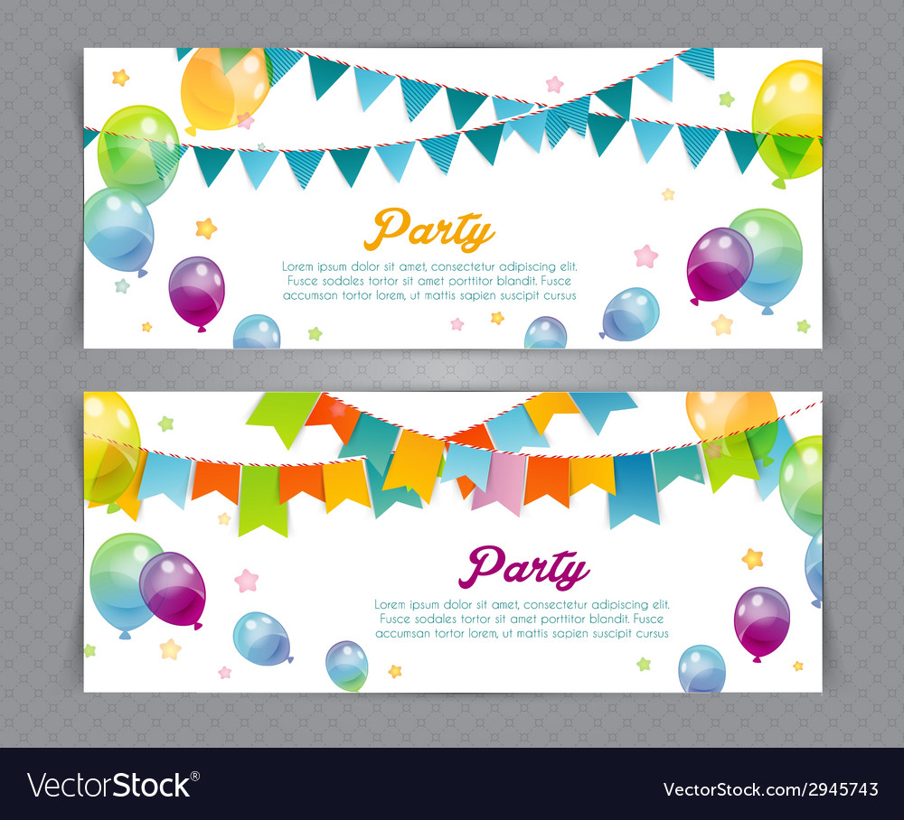 Party banners with flags and ballons vector | Price: 1 Credit (USD $1)