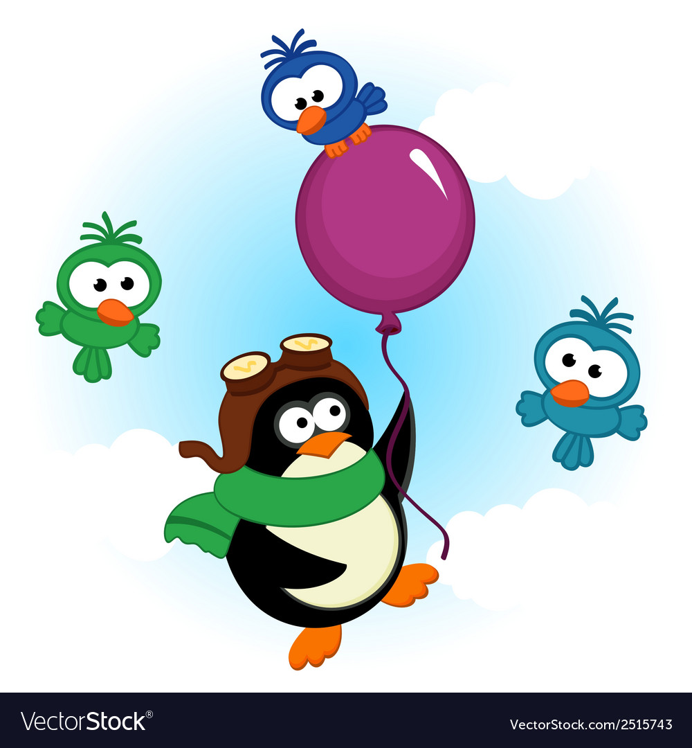 Penguin on balloon vector | Price: 1 Credit (USD $1)