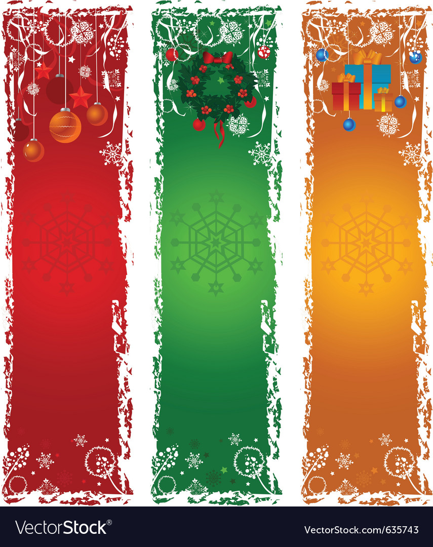Three vertical christmas banners vector | Price: 1 Credit (USD $1)