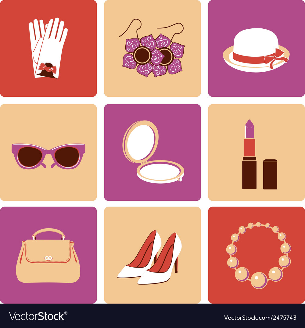 Woman accessories flat icon set vector | Price: 1 Credit (USD $1)