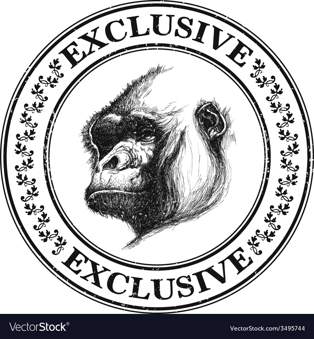 Ape head logo in black and white vector | Price: 1 Credit (USD $1)