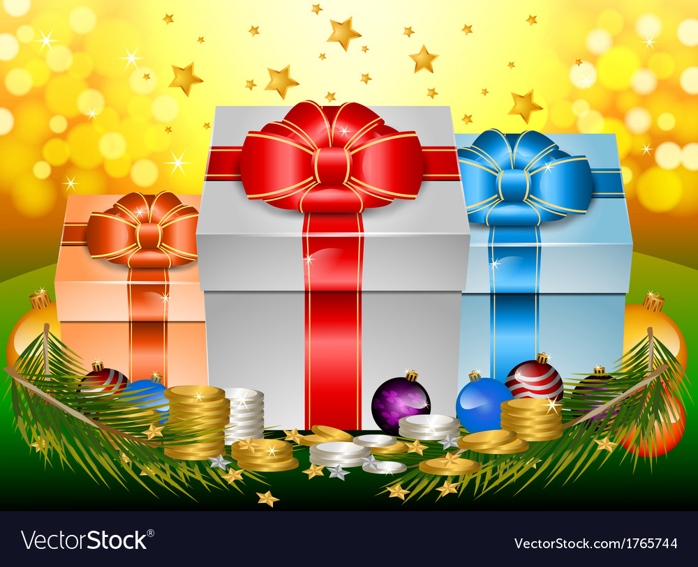 Glossy gift with ribbon and bow happy new year vector | Price: 1 Credit (USD $1)
