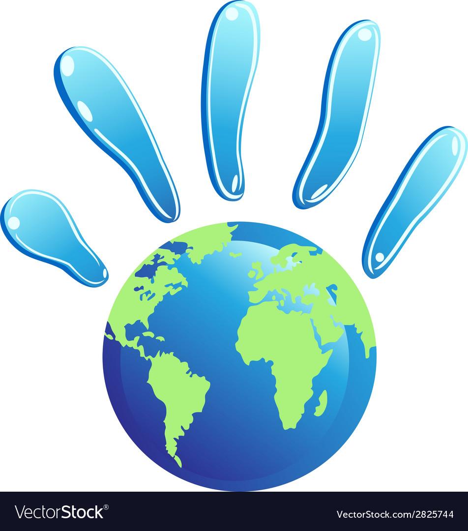 Hand globe symbol vector